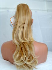 "Clip in Hair Pony Tail Hair Extension wavy Strawberry tip blonde 27BT613 20"" MIA"