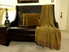 Luxury Traditional Jacquard Chenille/Cotton Paisley throw w fringe, Olive Brown