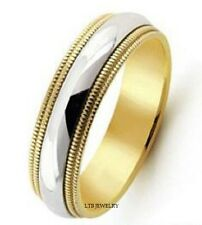 10K TWO TONE GOLD MENS WEDDING BANDS,MILGRAIN SHINY SOLID GOLD WEDDING RINGS