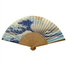 "Silk Hand Fan Japanese Wave 8"" Blue Tsunami Folding Pocket Purse Asian Hokusai"