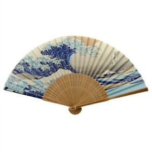 "SILK HAND FAN Japanese Wave 8"" Blue Tsunami Folding Pocket Purse Asian Hokusai"