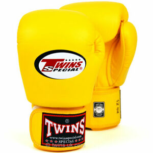 Twins BGVL-3 Leather Boxing Gloves Yellow boxing Sparring Kickboxing Muay Thai