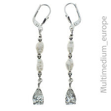 925er Sterling Argent Boucles d'oreilles d'eau douce perle zirconium silver earrings pearl