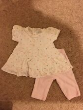 Girls White And Pink Fenwick Top And Leggings Set Age Up To One Month