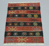 Turkish Hand Knotted Unique Carpet Cappadocia Ethnic Tribal Wool Kilim Rug 2x3ft