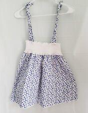EPK Girls Sun Dress Easter White Blue Flowers Adjustable Straps Cotton Size 8