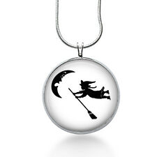 Witch silhouette necklace - Flying Witch - moon, halloween, broom