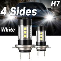 H7 4 Sides LED Headlight Bulbs 120W 32000LM Conversion Kit High Low Beam 6000K