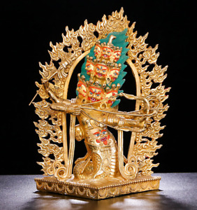 13'' Tibet Rahula Protector Buddha Bronze Statue