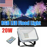 US 20W RGB LED Outdoor Color Changing Flood Spot light Garden Lamp Remote IP65