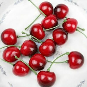 Mini Food Crafts Red Cherries Artificial Cherries Fruit Model Faux Cherry