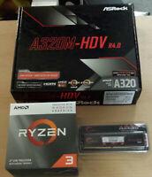 Aufrüstkit AMD Ryzen 3 3200G AM4, ASRock MB A320M-HDV u. 4 GB DDR4