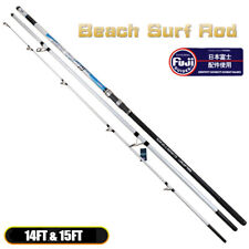 14FT 15FT Carbon Ultra Heavy 3 Pieces Beach Surf Rod FUJI Guides CW:100-250g