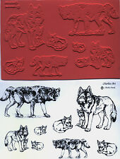 """unmounted rubber stamps  WOLVES  collection    8 images   sheet size 4 1/2"""" X 7"""""""
