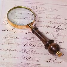 BRASS MAGNIFIER 8CM ANTIQUE VINTAGE NAUTICAL WOODEN HANDLE MAGNIFYING GLASS GIFT