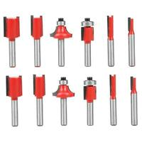 """12pcs 1/4"""" Router Shank Tungsten Carbide Rotary Bit Kits Tools for Woodworking"""