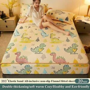 Winter warm flannel elastic band fitted sheet 3D printed  super soft bed sheet