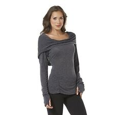 NWT Hoodie Thumbhole Yoga Dance Top XXL Ruched Athletic Burn Out Cowl Neck Shirt