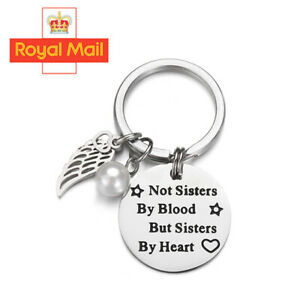 Not Sisters by Blood but Sisters by Heart Keyring Sister Key Ring Friendship