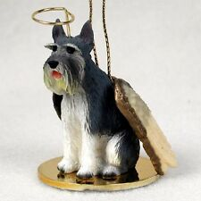 Giant Schnauzer gray dog Angel Ornament Hand Painted resin Figurine Christmas