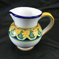 """rare vintage fina deruta pottery Italy ceramica pitcher hand painted 7 1/4"""" tall"""