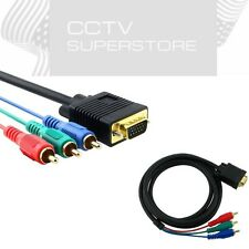 6 Ft VGA to 3 RCA Component Cable For Laptop PC LCD TV 6ft