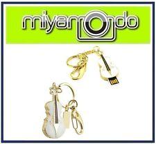 Violin Shape Metal Crystal Key Chain (White) 32GB USB Drive Thumb Drive Pen