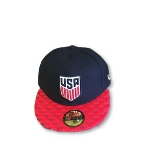 New USA US Soccer New Era 59Fifty Checked Navy Red Fitted Size 7 1/4 Hat Cap