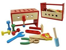 Kaper Kidz Children's Pretend Play Wooden Tool Box & Work Bench Toy