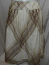 Talbots Beige Plaid Silk Lined A-line Skirt Size 18