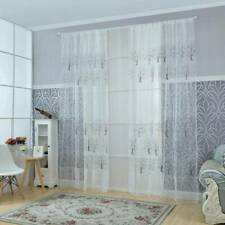 Floral Voile Window Curtain Tulle Curtain Living Room Drape Panel W