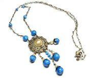 Vintage Art Deco Czech lapis glass & faux pearl dangle silver tone necklace