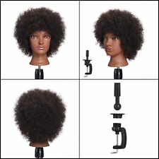 Natural Afro Cosmetology Mannequin Head Hairdresser Training 100% Human Hair NEW
