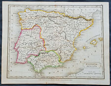 1830 Sydney Hall Antique Map of Spain & Portugal during the Roman Era