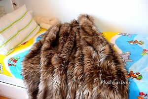 5' Brown Plush Coyote Faux Fur Blanket Throw Sofa Bed Comforters  Decor