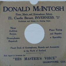 "78 rpm 10"" inch card gramophone record sleeve DONALD McINTOSH INVERNESS"