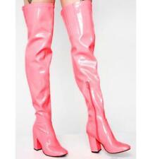 Ladies Block Heel Nightclub Waterproof Patent Leather Over Knee High Thigh Boots