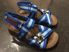 Juicy Couture New & Genuine Girls Blue Canvas & Gemstone Sandals UK 12, EU 31