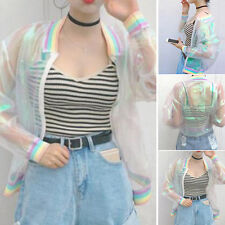 Women Rainbow Iridescent Transparent Jacket Holographic Slim Coat Bomber Jacket