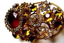 RARE signed Fred A Block Rhinestone Flower FUR clip- like D&E/Julianna stones