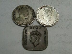 3 Coins of Malaya/Straits Settlement 1902 & UNC 1941 Silver 10¢, 1940 ½ ¢ cent