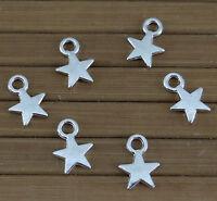 Lot de 40 breloques étoiles en métal argenté 11 mm x 8 mm-bc211