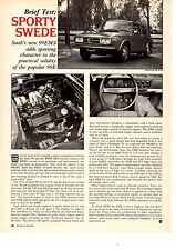 1973 SAAB 99EMS  ~  NICE ORIGINAL SINGLE-PAGE ROAD TEST / ARTICLE / AD