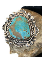 Navajo Native American Sterling Silver Blue Royston Turquoise Ring Sz 8 Set01639