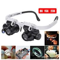 Doble LED Luces Gafas Lente Amplificador Lupa Lente de Aumento 23X 8X 15X