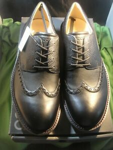 ECCO Lux leather soft spike wingtip golf shoes...Black..Size 9-9.5 EU 43