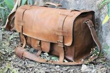 "Men's 20"" genuine Leather large vintage duffle travel gym weekend overnight bag"