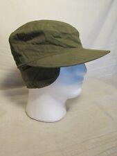 V7710 Field Cotton Military Od W/Visor Vietnam Era Cap w/Ear Flaps, Size 6 7/8-7