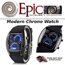 EPIC TIME- Modern Chrono Watch -Blue Flash Dial Dot Matrix- LED Racing Watch