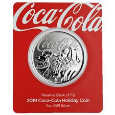 Coca Cola® Fiji 2019 Santa Claus Klaus 1 oz 999 Silbermünze im Blister Geschenk